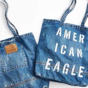 Distressed Denim American Eagle 🦅 Tote Bag